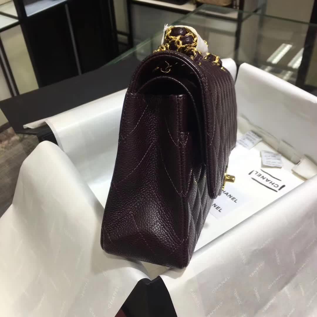 Chanel 香奈儿 Classic Flap 鱼子酱 咖啡色 25cm 金 一件代发