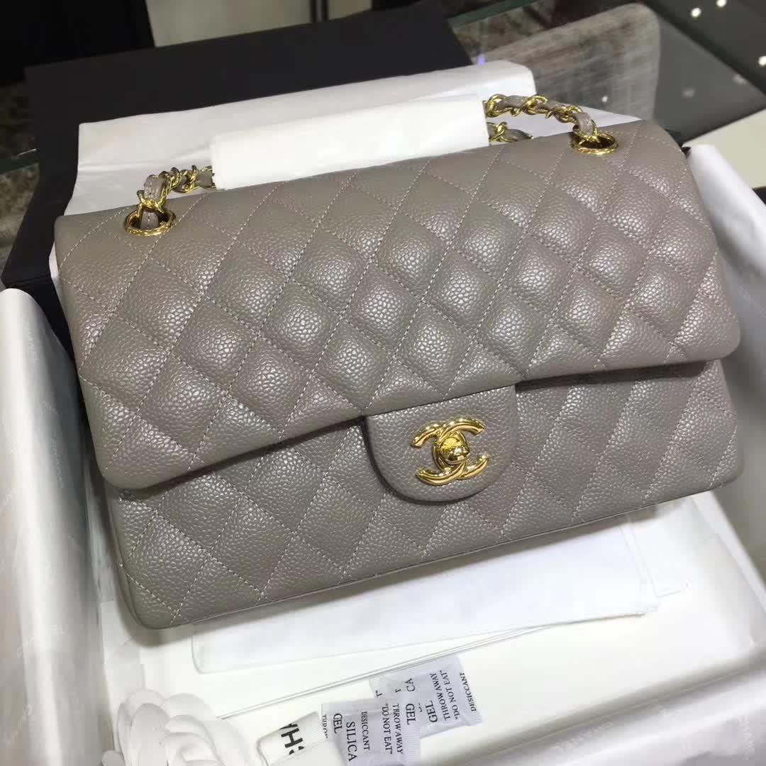 Chanel 香奈儿 Classic Flap 鱼子酱 灰色 25cm 金