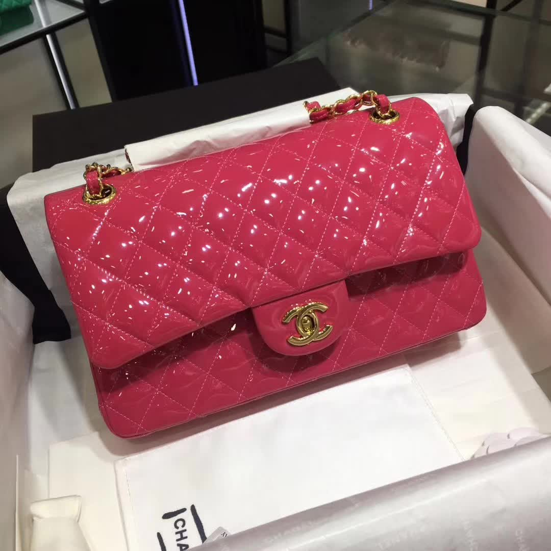 Chanel 香奈儿 Classic Flap 漆皮 玫红色 25cm 金 诚招代理