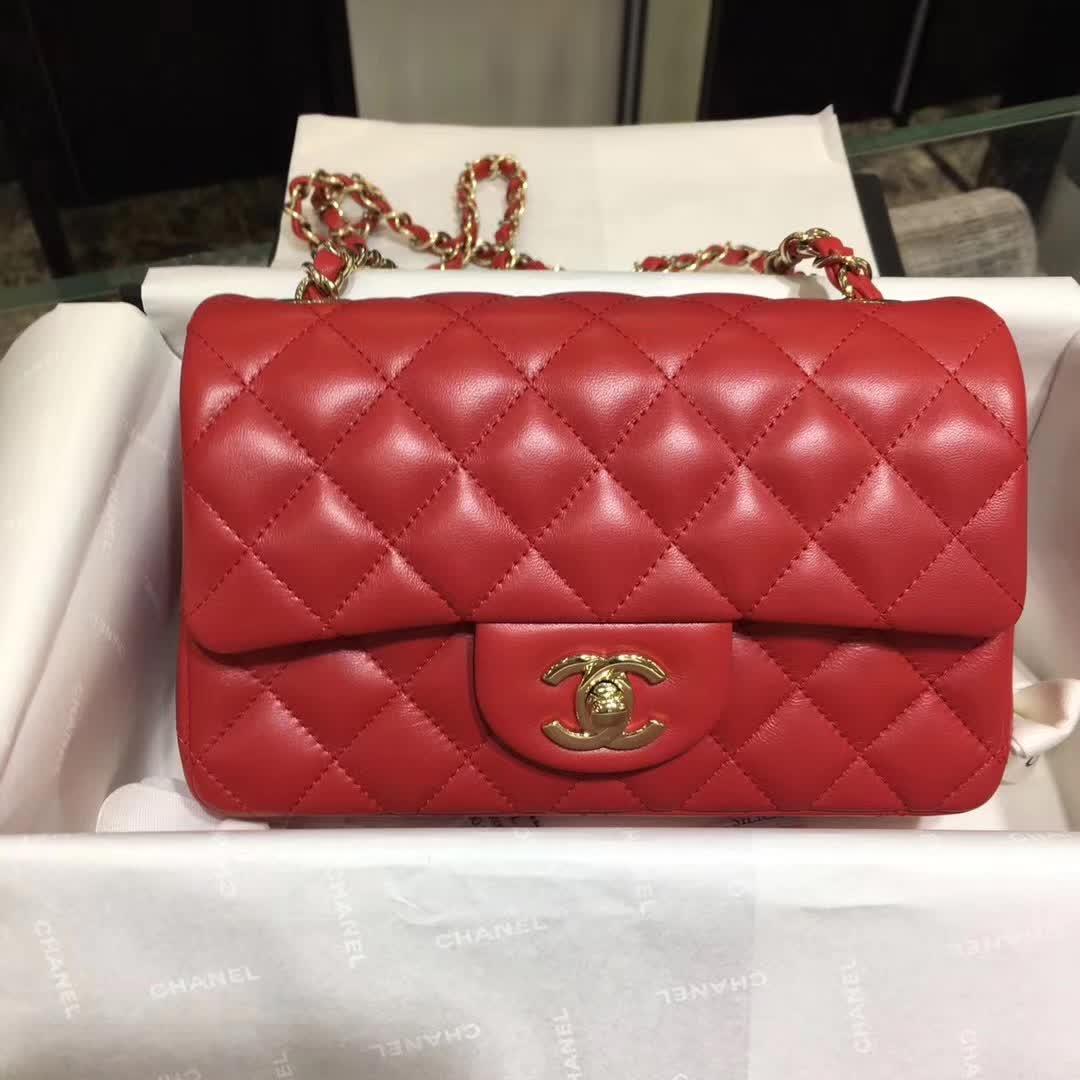 Chanel 香奈儿 Classic Flap 小羊皮 大红 20cm 金