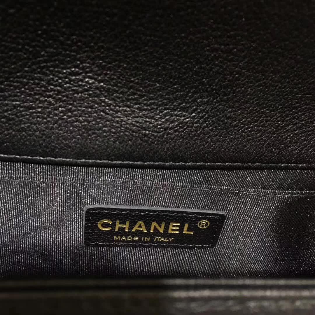 Chanel 香奈儿 Leboy 绵羊皮 黑色 25cm 彩金 厂家直销
