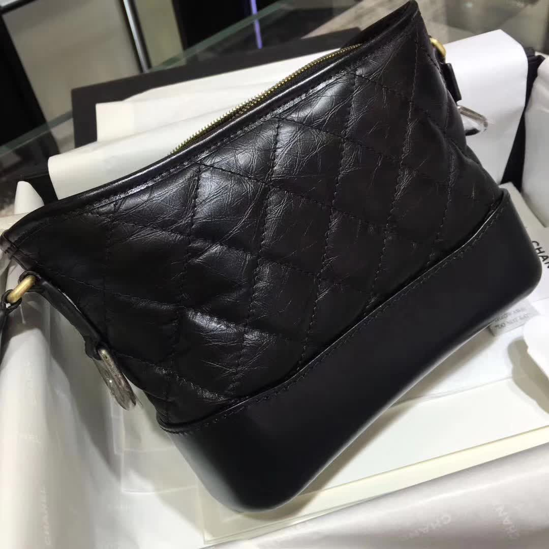 广州白云皮具城  Chanel 香奈儿 流浪包 明星同款 黑色 20cm