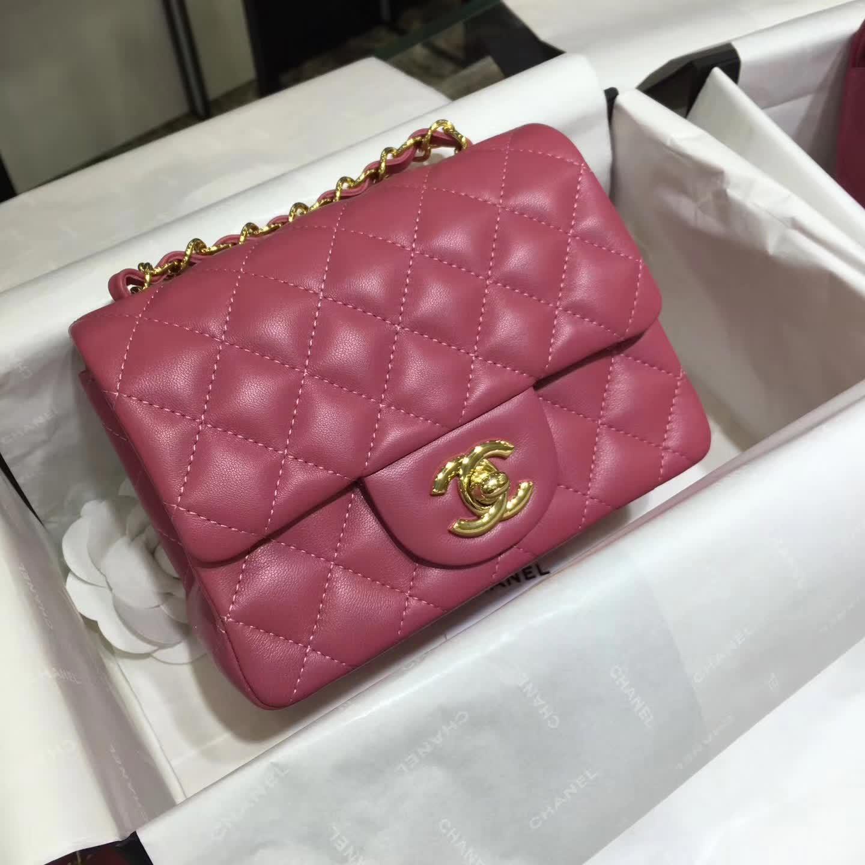 Chanel 香奈儿 Classic Flap 小羊皮  桃粉色 17cm 五金:金