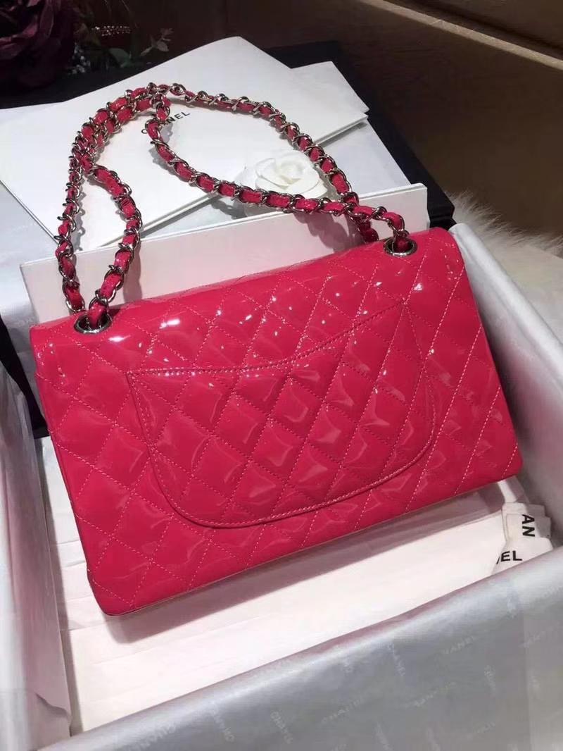 Chanel 香奈儿 Classic Flap Bag  进口漆皮 25cm 感受细节 感受工艺 玫红色 银扣