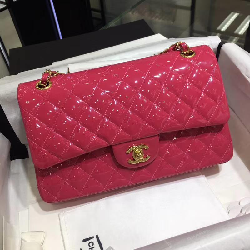 Chanel 香奈儿 Classic Flap Bag  进口漆皮 25cm 感受细节 感受工艺 玫红色 金扣