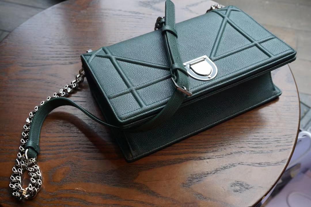 Dior 腾格纹 25cm/21cm 触粒面牛皮 墨绿色 实拍 现货