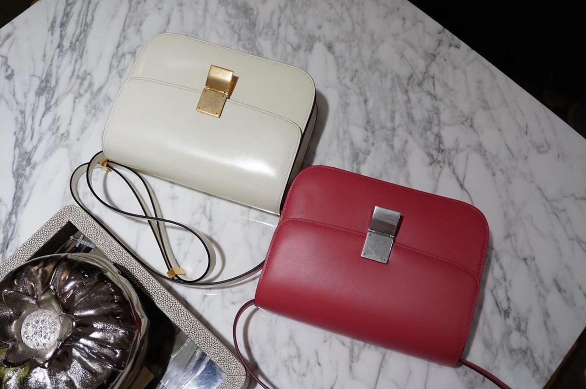 CÉLINE(赛琳)豆腐包 box 24cm 白色 番茄红