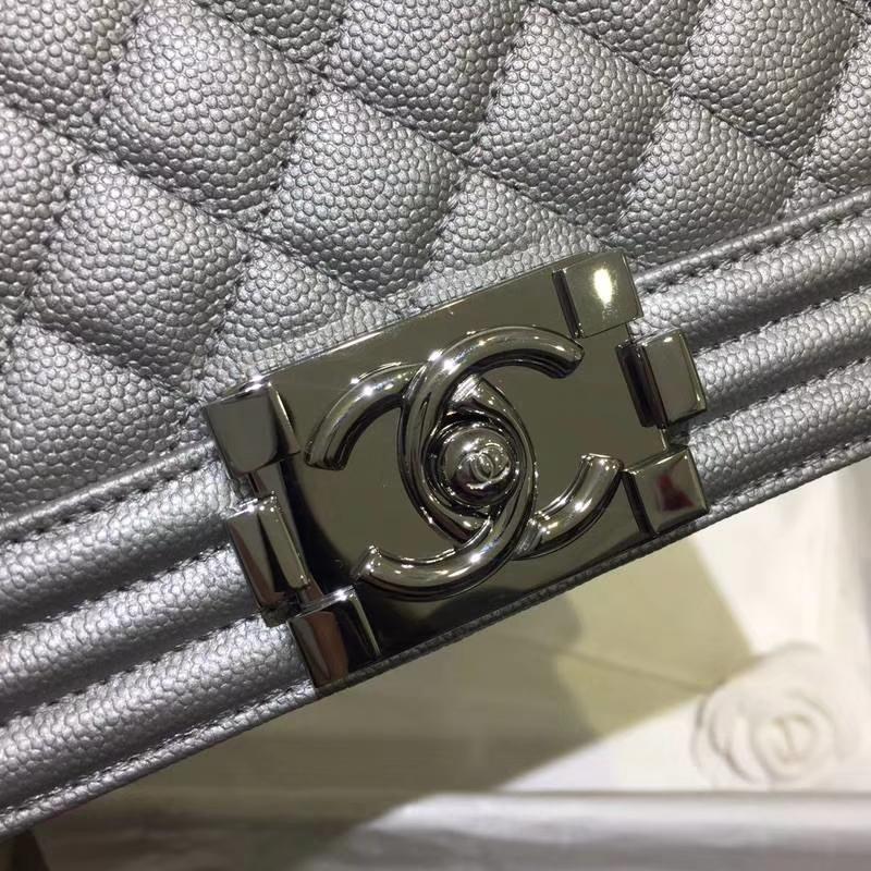 Chanel 香奈儿 leboy 25cm 太空银 小鱼子酱 现货