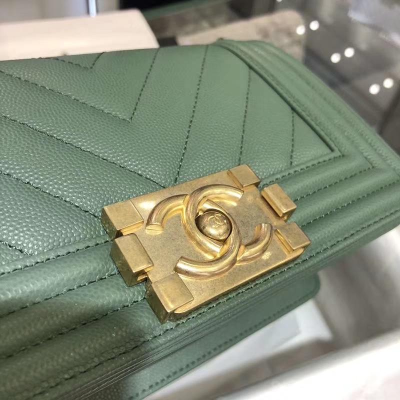 Chanel 香奈儿 LeboyBag 20cm大V款现货 抹茶绿沙金扣