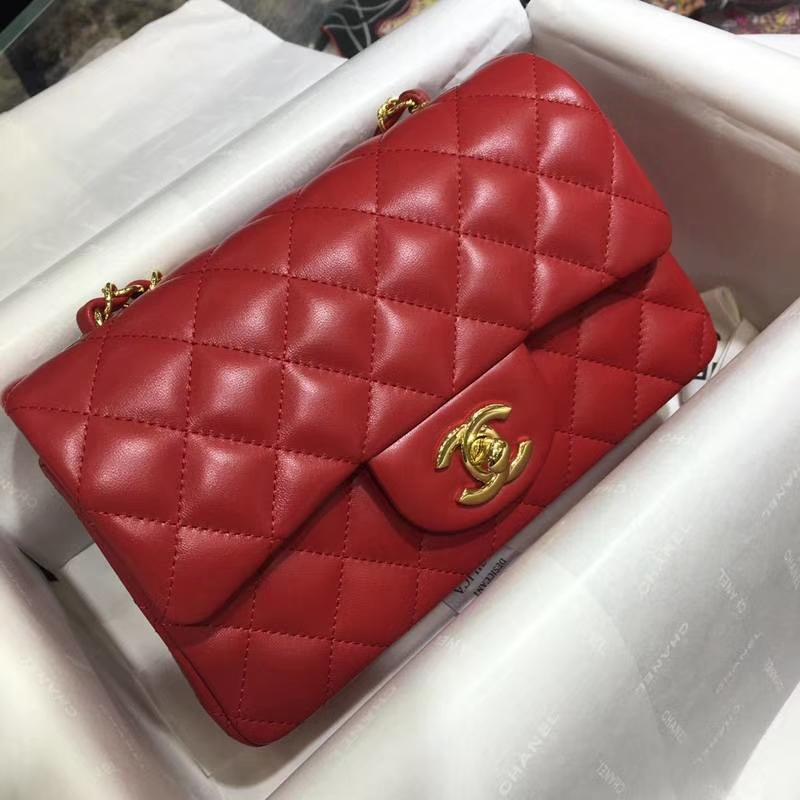 Chanel 香奈儿 Classic Flap Bag 进口小羊皮 20cm 现货 大红 金扣