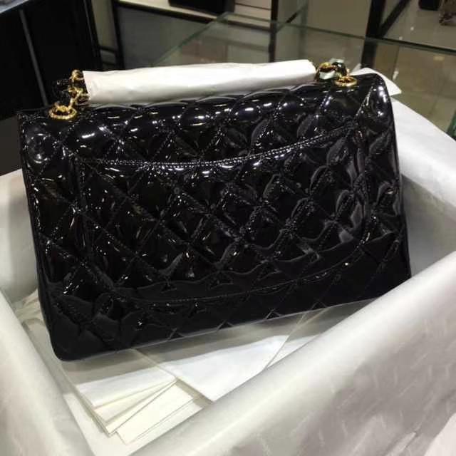 Chanel 香奈儿 Classic Flap Bag  进口漆皮 30cm 黑色 金扣