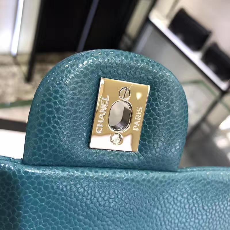 Classic Flap Bag 鱼子酱 17cm 孔雀蓝 银扣 纯正品开发 顶级的工艺 进出专柜无压力