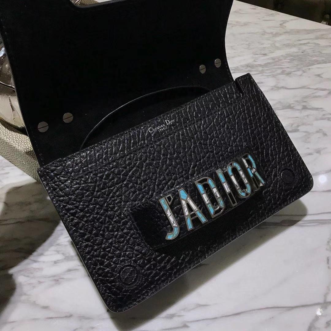 Dior 迪奥 翻盖式手提包 J'ADIOR 黑色 大象纹陶瓷扣