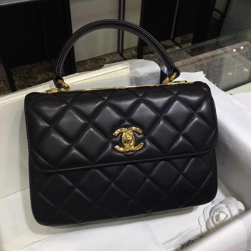 Chanel 香奈儿 TrendyCC小羊皮 黑色 25cm 金扣