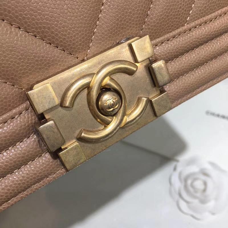 Chanel 香奈儿 leboy 25cm 小鱼子酱 焦糖色 纱金