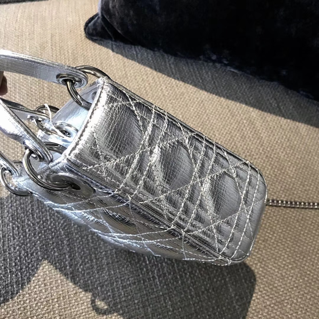 Dior 迪奥 戴妃包 Lady Dior 三格 羊皮 大象纹 金属银色