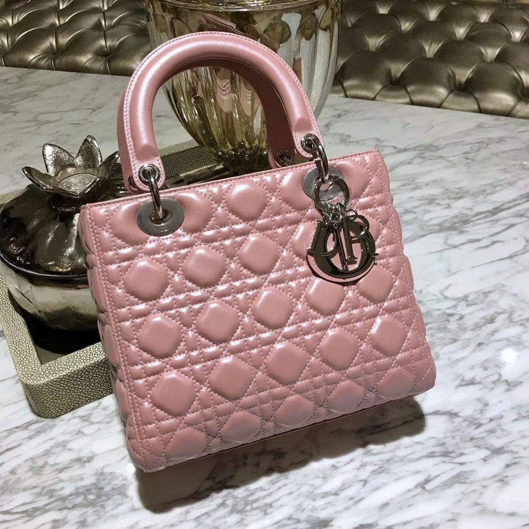 Dior 迪奥 经典羊皮 戴妃包 Lady Dior五格24cm 珠光粉