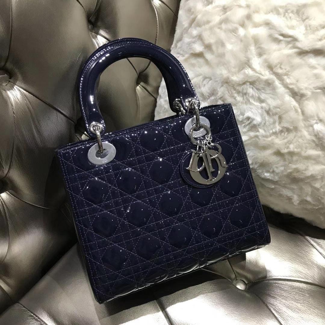 Dior 迪奥 经典牛皮 戴妃包 Lady Dior五格24cm宝石蓝