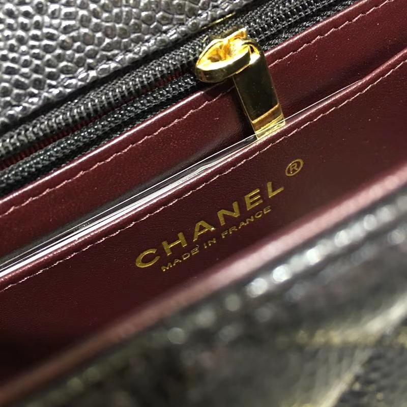 Chanel 香奈儿 ClassicFlap 鱼子酱【黑色】车边  20cm 金(现货)