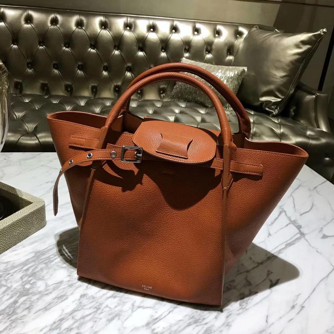 CÉLINE购物袋专柜同步发售 中号24cm 焦糖色 进口荔枝纹牛皮