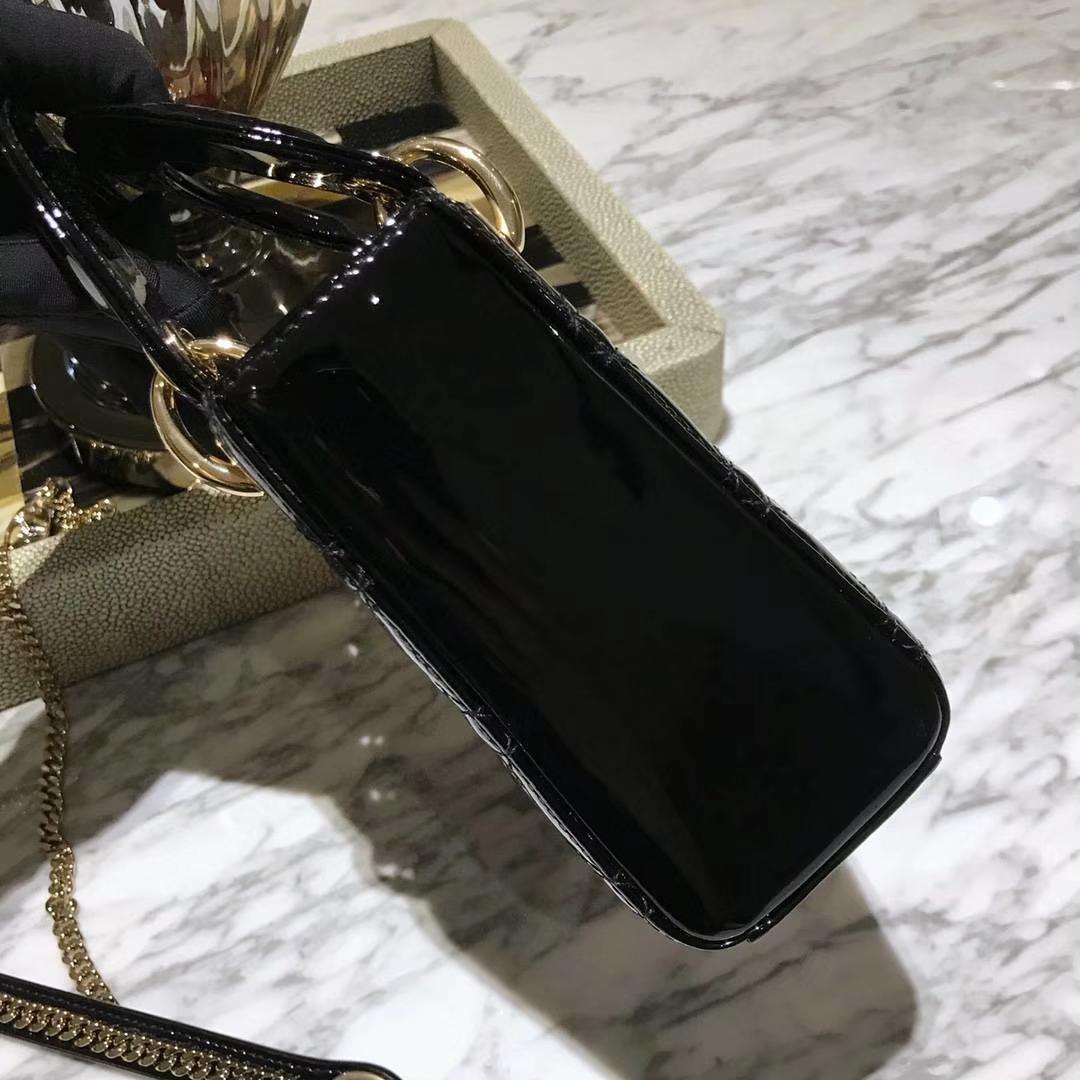 Dior 迪奥 mini戴妃 漆皮 黑色 金扣 厂家直销