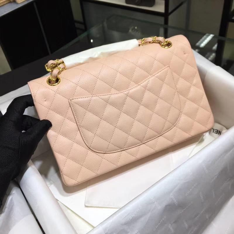 Chanel 香奈儿 CF 经典系列 鱼子酱 少女粉 25cm 金扣 现货