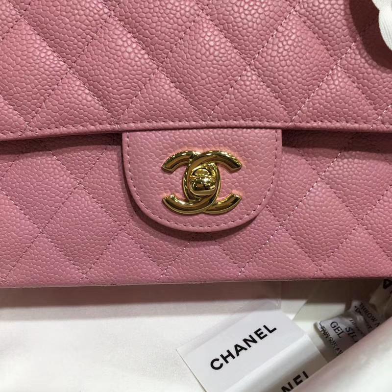 Chanel 香奈儿 CF 经典系列 鱼子酱 桃粉 25cm 金扣 现货