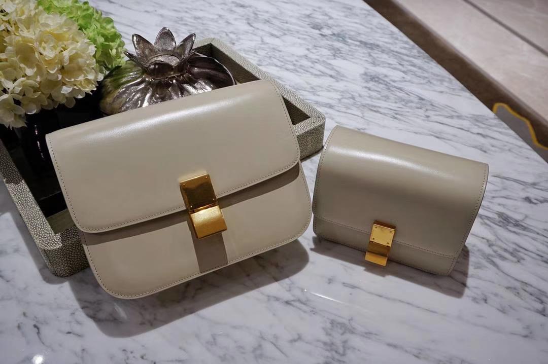 Celine 思琳 最新版本 box豆腐包 24cm 实拍 专柜同步 最新做法 优雅时尚 风衣灰 金扣