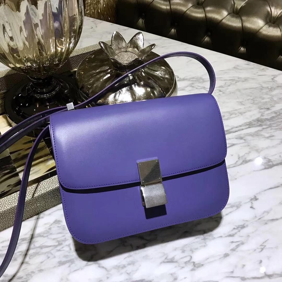 Celine 思琳 最新版本 box豆腐包 24cm 实拍 专柜同步 最新做法 优雅时尚浅紫色