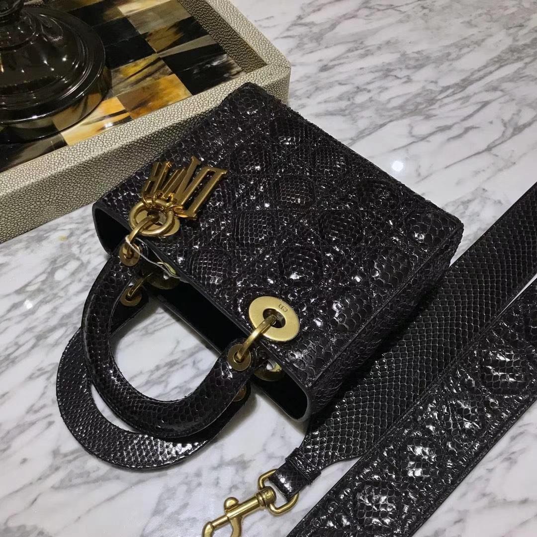 Dior 迪奥 印尼进口蛇皮制作 Dior指定蛇皮供应商 四格翻盖戴妃包