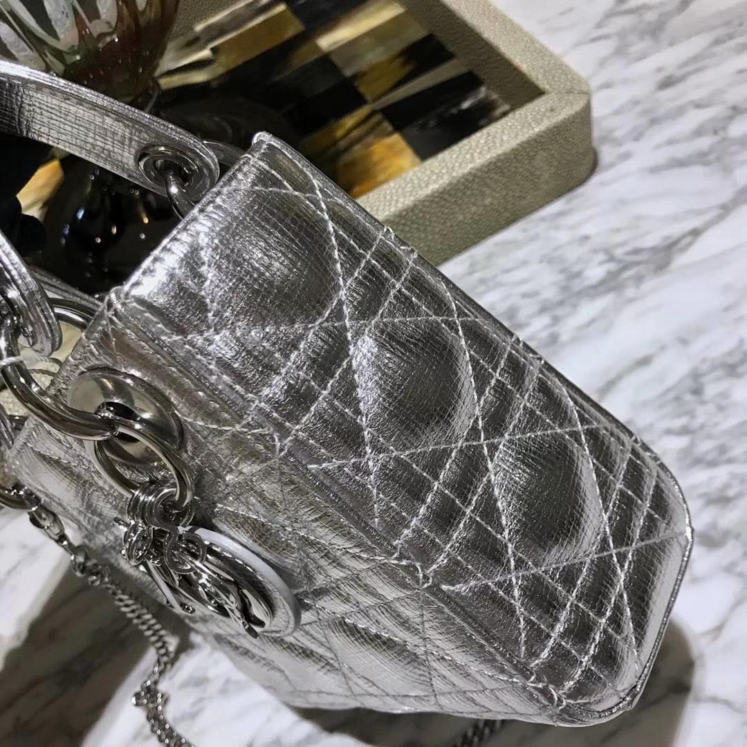 Dior 迪奥 来自意大利原厂皮料 牛皮大象纹 金属银 实物绝对美到爆银扣