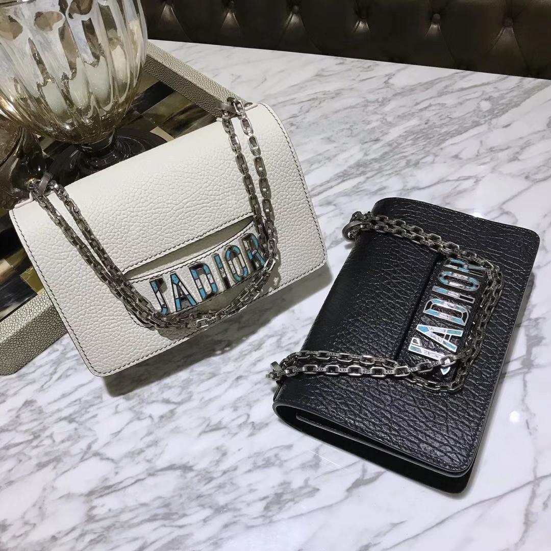 Dior 迪奥 JADIOR 25cm 翻盖式设计链条包 牛皮大象纹陶瓷扣 黑色
