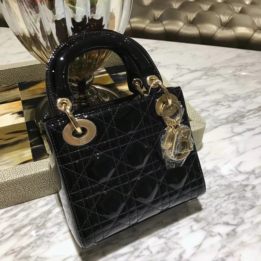 Dior 迪奥 mini 漆皮 经典黑色 戴妃包 三格