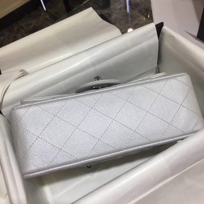 Chanel 香奈儿 CF系列 小鱼子酱 银色 20cm 银扣 少量现货
