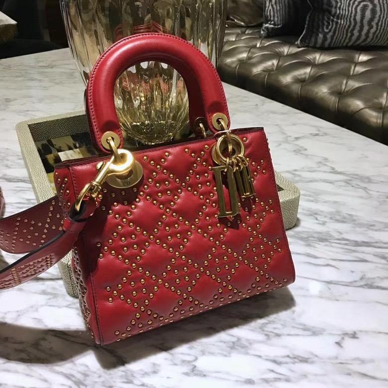 Dior 迪奥 戴妃包 Lady Dior 全新 原厂进口皮 大红 铆钉款 实拍