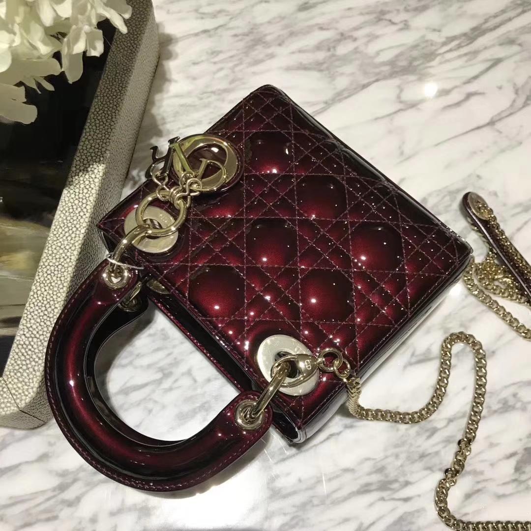 Dior 迪奥 mini 漆皮 戴妃包 Lady Dior 完美 ZP打版 栗色