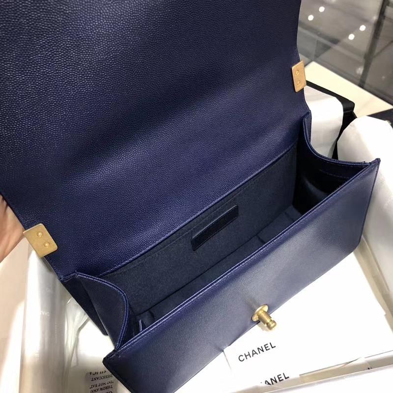 Chanel 香奈儿 Leboy Bag 大V 小鱼子酱 海军蓝 25cm 磨砂五金