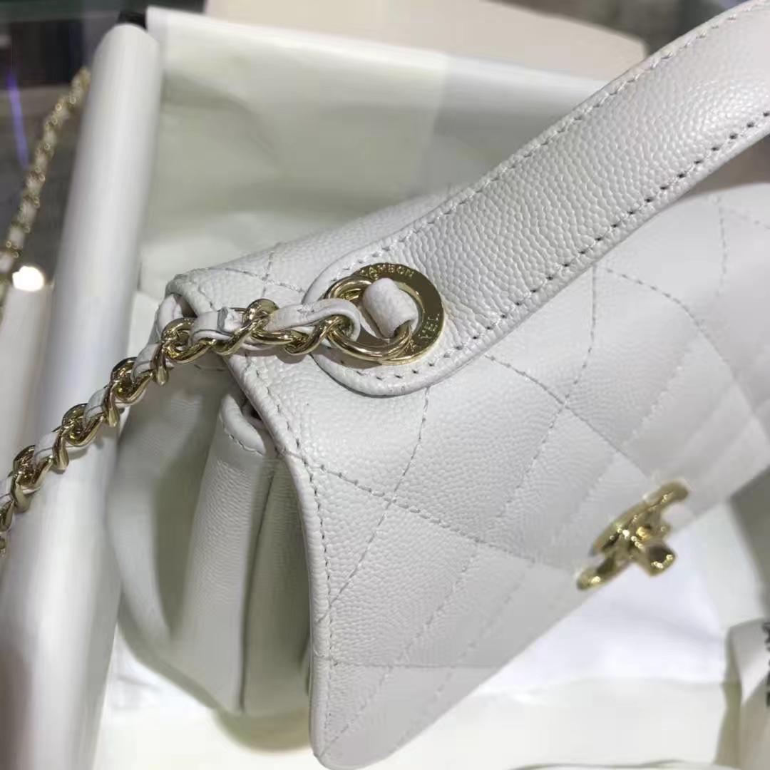 Chanel香奈儿邮差包20cm纯白色 进口小鱼子酱 香槟五金