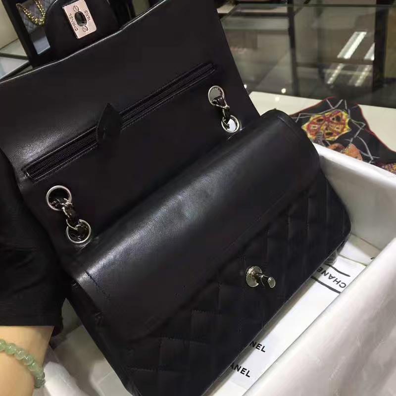 Chanel 香奈儿 CF 经典系列 小羊皮 黑色 25cm 银扣
