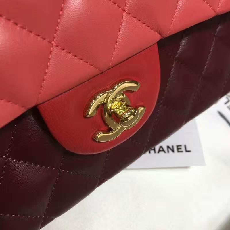 Chanel 香奈儿 CF 经典系列 小羊皮 拼色 25cm 金扣