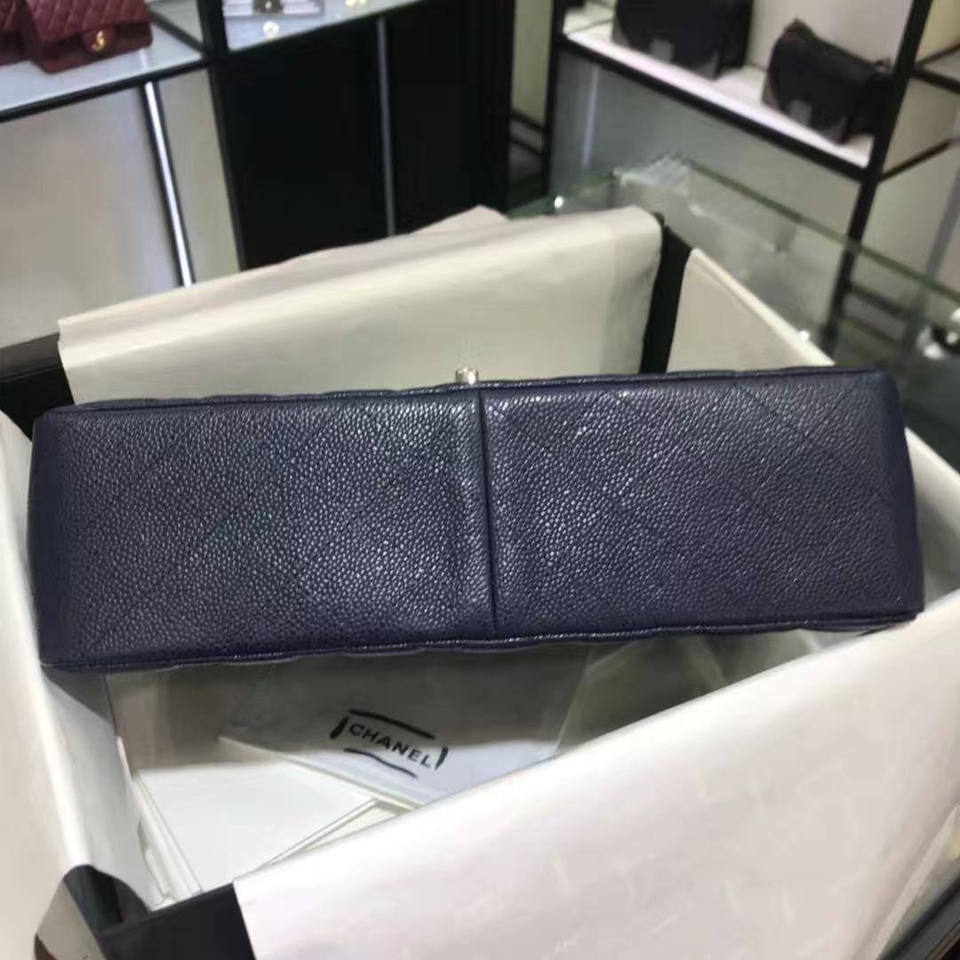 Chanel 香奈儿 Cf系列 30cm 原厂皮鱼子酱 海军蓝 银色五金