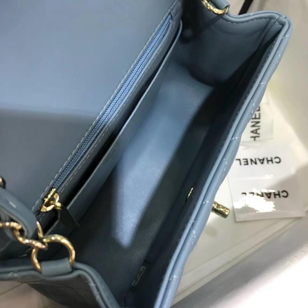 Chanel 香奈儿 Cf系列 17cm 原厂皮 小羊皮 雾霾蓝 香槟金