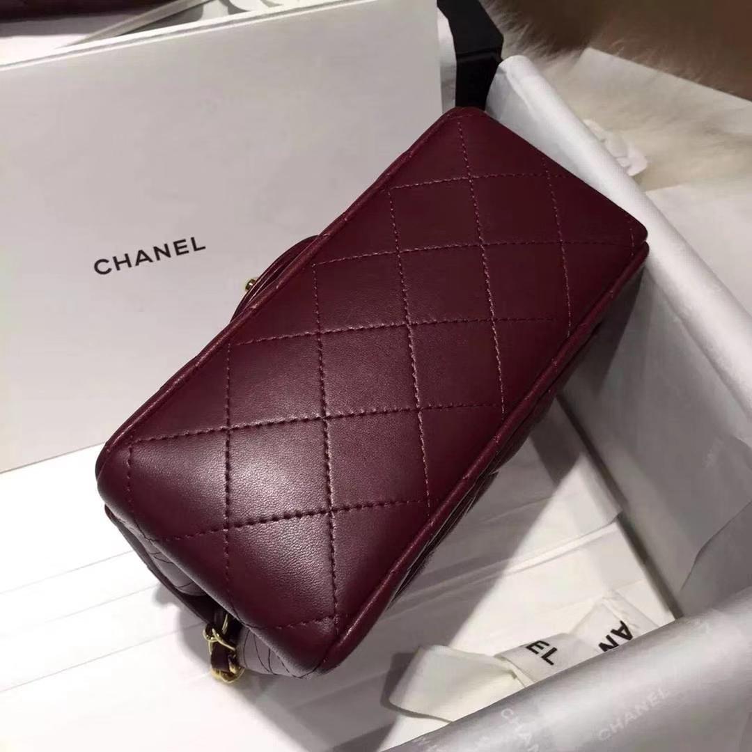 Chanel 香奈儿 Cf系列 17cm 原厂皮 小羊皮 酒红色 金扣