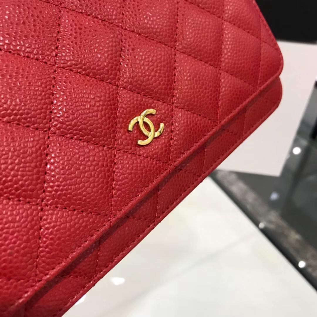 Chanel 香奈儿WOC 19cm 原厂皮鱼子酱 大红 金扣