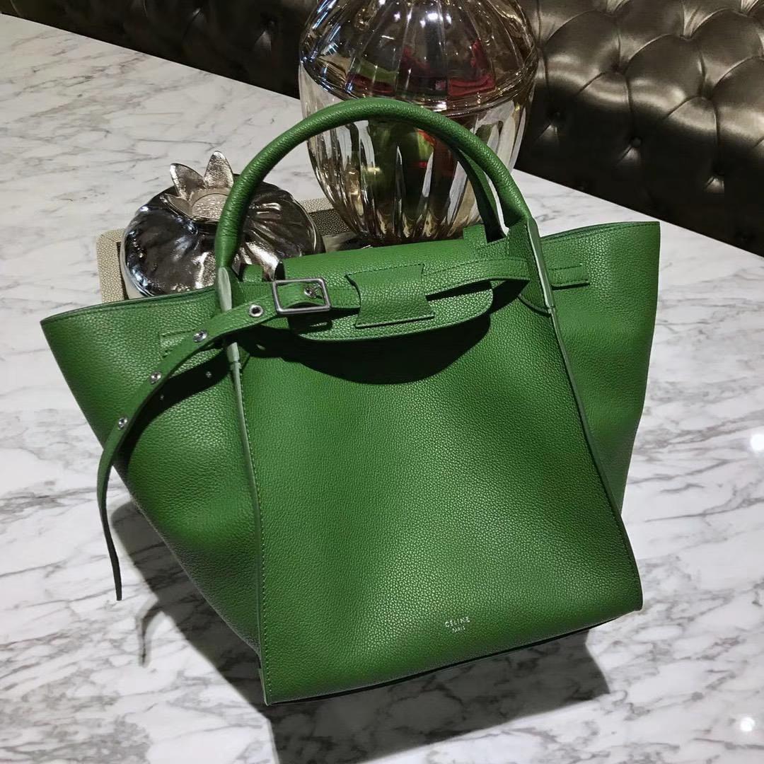 CÉLINE 购物袋 专柜同步发售 中号24cm 草绿色 进口荔枝纹牛皮