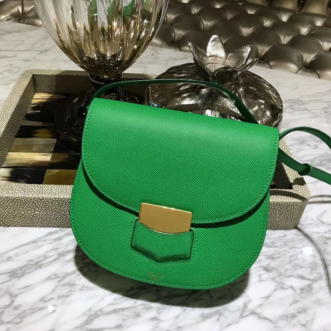 Celine 思琳 五角包 23cm 原厂进口牛皮 皮肩带 青草绿