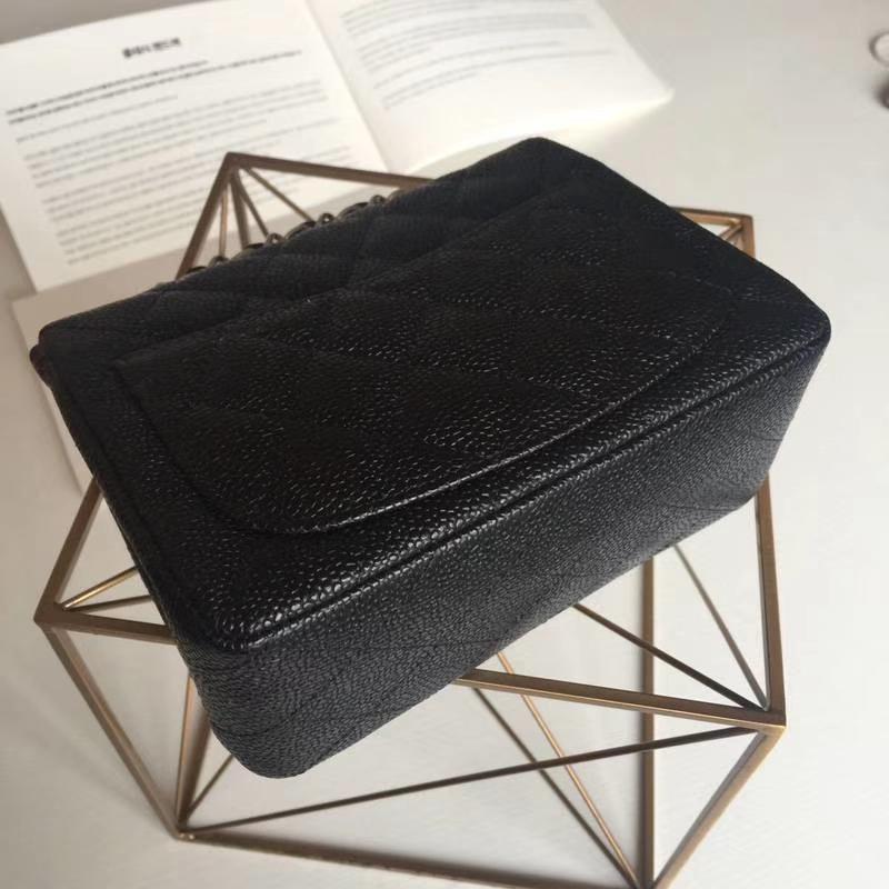 Chanel 香奈儿 CF 经典系列 鱼子酱 黑色 17cm 银扣