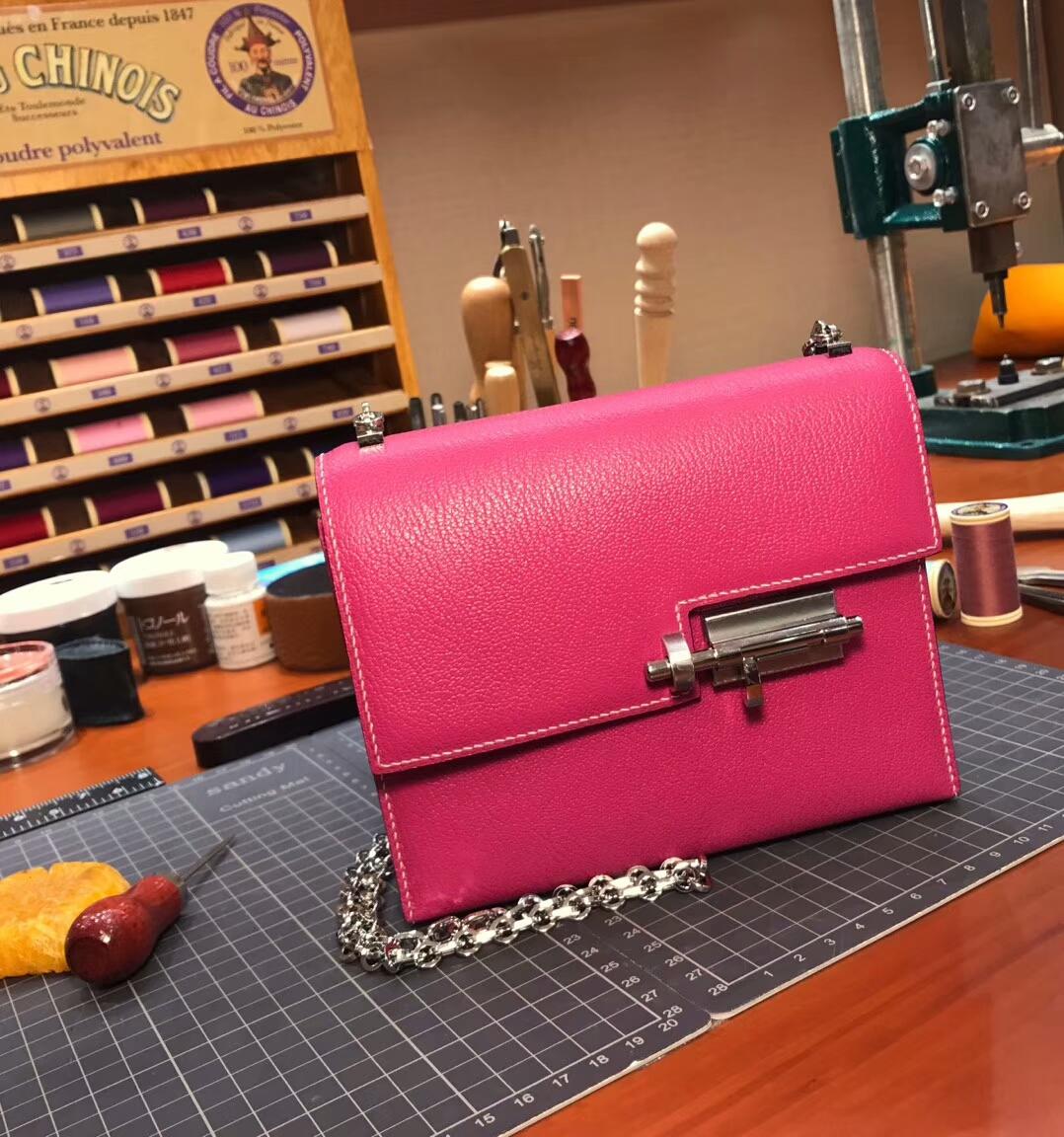 HERMES 爱马仕 手枪包 Verrou Chain Rose Tyrien 糖果粉 E5 玫红色 桃红色 配全套专柜原版包装