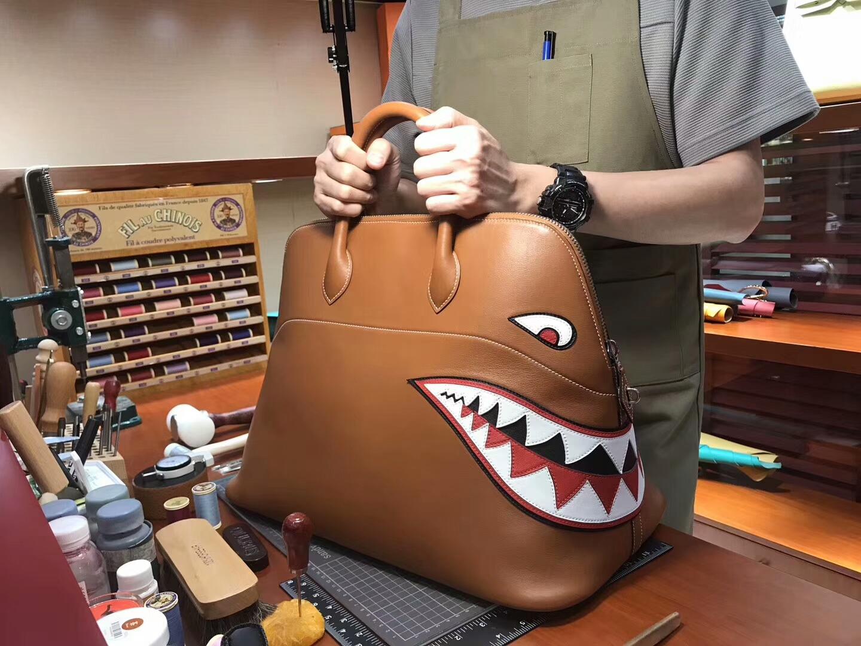 HERMES 爱马仕 鲨鱼保龄球包 配全套专柜原版包装 媲美专柜货源 金棕 Gold CK37