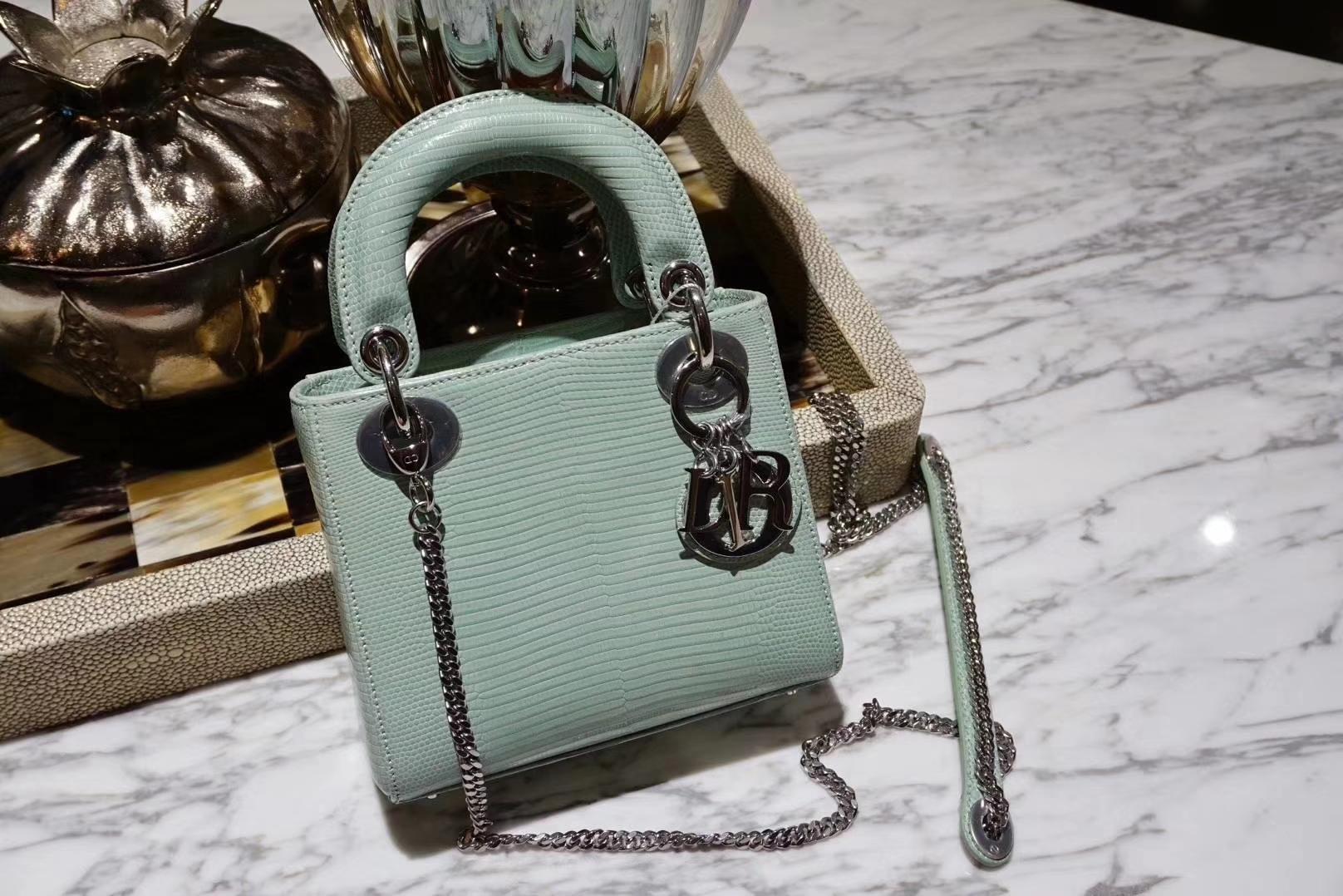 Dior 迪奥 戴妃包 进口蜥蜴皮 气质型包包 薄荷绿
